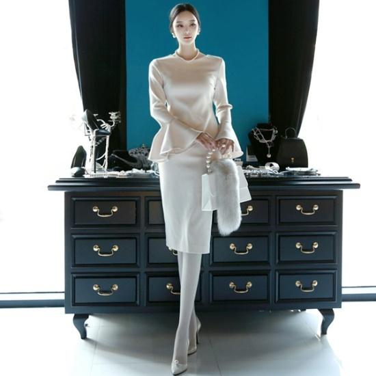 ディントゥD3424ルエルフリルカフスワンピース 綿ワンピース/ 韓国ファッション