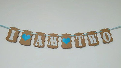 EL Baby Boy 2nd Birthday Decoration Cake Topper Two I Am Banner