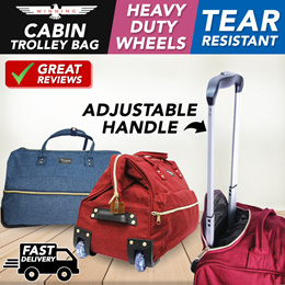 ★NEW★  [WIDE MOUTH] D.O.C Cabin Trolley Bag 2 Wheels Heavy Duty Polyester Material
