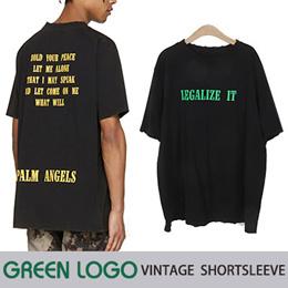《送料無料》 グリーンロゴヴィンテージショートスリーブTシャツ(ブラック)/半袖