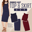 Basic SET Top And Skirt / 2 Colors / Bodycon Skirt / Blouse Sleeveless / Baju Wanita / Rok Wanita