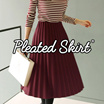 [BUY3 FREESHIPPING*] KOREA STYLE ★ PLUS SIZE - PLEATED SKIRT / WEDGES Spandex Flare SKIRT