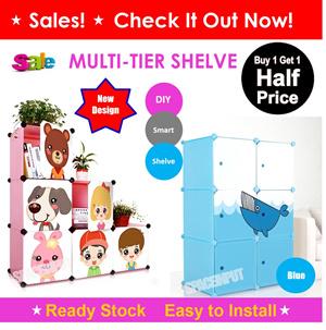 b6da21f5af ☆SALE UP TO 50% Discount☆ Cute Modular DIY Shelf Rack Wardrobe Cabinet  Storage