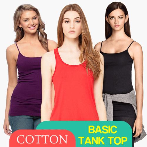Women Cotton Basic Tank Top / Tanktop Polos Wanita Bahan Katun / Singlet Tali Kecil Tali Besar Deals for only Rp14.500 instead of Rp14.500