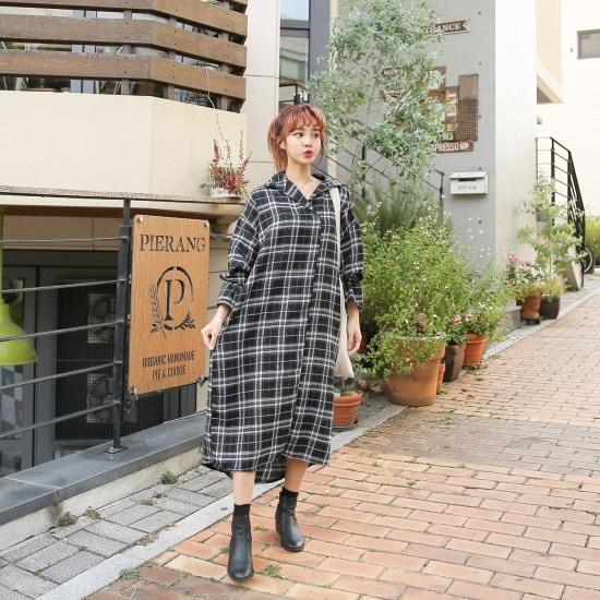 クルリクエンミウェールロングシャツ 綿ワンピース/ 韓国ファッション