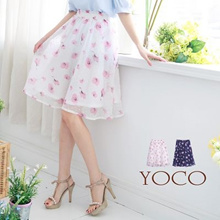 YOCO - Floral Midi Skirt with Pockets-6006294