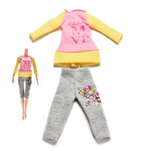 2 Pcs/set Fashion Dolls Clothes for Barbie Dress Pants with Magic Pasting