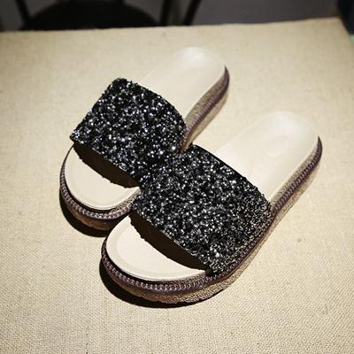 sale New Summer Women s Slippers PU Bling Bling Slides Flat Soft Bottom Sandals  Home Flip 0dbe2c7ed88b