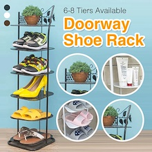 【Steel DoorWay Shoe Rack】Sleek Design 6/7/8 tier (3Colors) Space Saving Entrance Storage Shelf