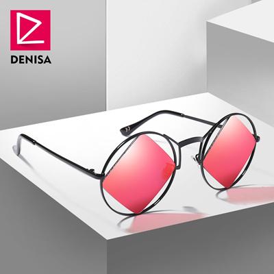 07c86b240a sale DENISA Retro Round Sunglasses Women Men Fashion Steampunk Vintage  Rhombus Sun Glasses Girls UV4