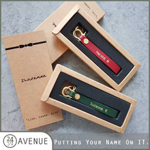 [24 AVENUE] Personalized / Monogrammed Real Calf Leather Key Holder/ Embossed Keychain