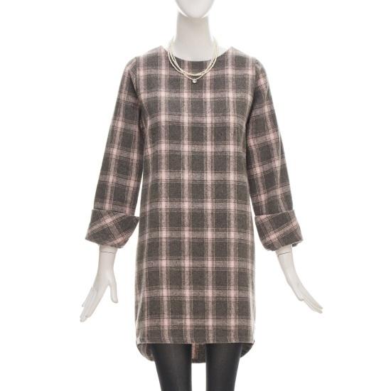フォーカスカフスポイントチェックワンピースCFGW1OP4190 面ワンピース/ 韓国ファッション