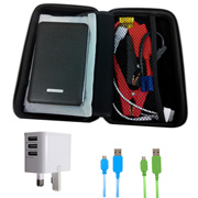 Car Jump Starter Power Bank 10000MAH(BLACK)+USB Cable x2 + 3USB Wall Port Charger