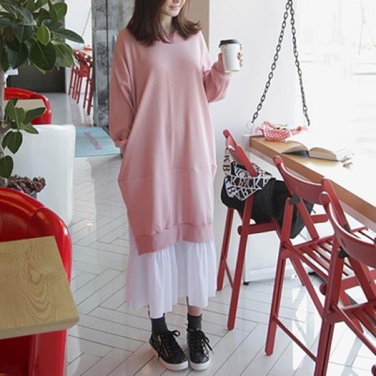 ポンジェイ配色ロングフリルのワンピース3color 綿ワンピース/ 韓国ファッション