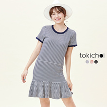 TOKICHOI - T-Shirt Dress with Frill Hem in Stripe-6017433-Winter