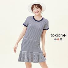 TOKICHOI - T-Shirt Dress with Frill Hem in Stripe-6017433-Winter