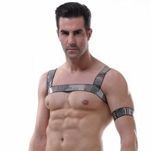 Sexy Erotic Men Lingerie Body Chest Harness Bondage Costume Halter Neck Nightclub Hollow Out Clothin