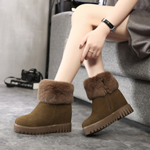 Women Winter snow boots with thick boots suede short tube increased thick hair cotton boots cotton
