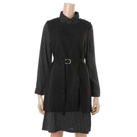 旅行、女性トレンディな3種ベルトのベストシャツ型ワンピースsetワンピースWOD610 シフォン/レース/フリル/ 韓国ファッション