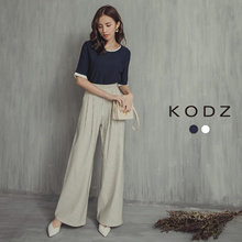 KODZ - Contrast Keyhole Blouse-180103-Winter