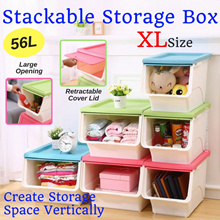 Stackable Large Storage Box Create Storage Space Vertically Retractable Cover / Drawer Storage Box