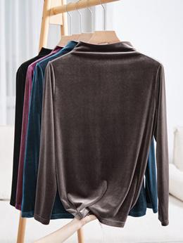 2016 Korean gold velvet Sheen fall/winter long sleeve t-shirt woman slim slim half collar shirt at t