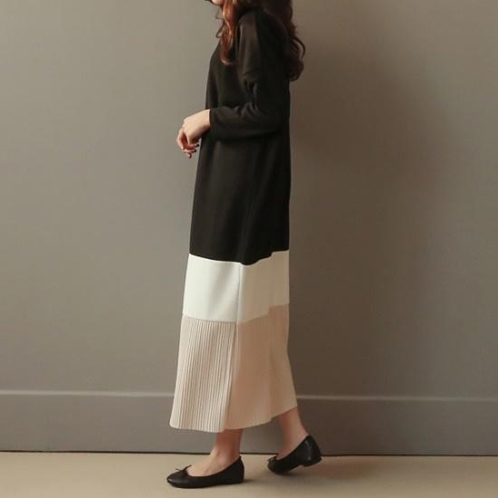 ビナインベーツ配色しわワンピース 綿ワンピース/ 韓国ファッション