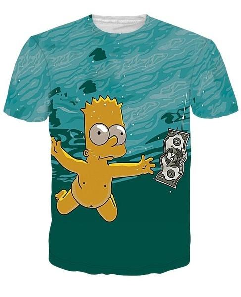 小説ファッション3Dプリント面白いダイビングシンプソン女性のメンズTシャツ半袖Tシャツトップ