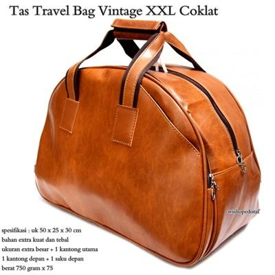 Tas Travel Wanita Kulit Vintage XXL