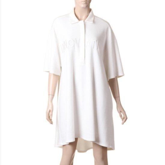 ・トムボイ英文自首シャツ型ルーズフィットワンピース9105341646 面ワンピース/ 韓国ファッション