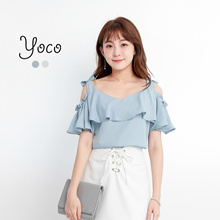 YOCO - Ribboned Shoulder Cutout Blouse-170866