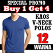 [BUY 1 GET 4] Korean Plain V-Neck Tee / Short Sleeve and Long Sleeve / Kaos Polos Korea / Kaos Pria / Kaos V Neck / Kaos Polos / Basic V Neck