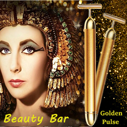 ★From Japan★ 24K Golden Pulse Beauty T-Bar/Facial massage stick/Face Roller