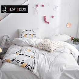 shop SLOWDREAM Cute Cat Cartoon Bedding Set Wonderful Duvet Cover Set Flat Sheet Pillowcase Kids Adu
