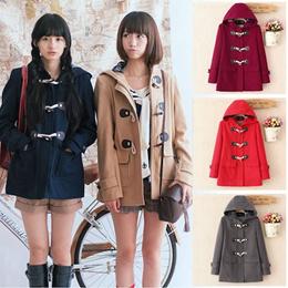 ダッフルコート レディース 女の子 コート アウターコート ウールフード付き 大きいサイズ 学生制服