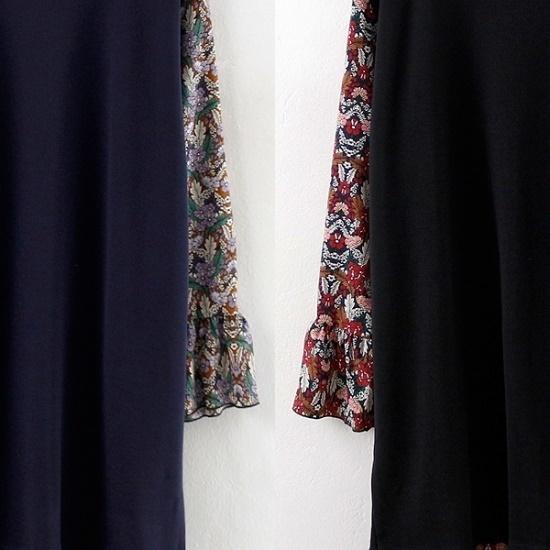 ウィスィモールIW花配色小売ワンピースBE1709 綿ワンピース/ 韓国ファッション