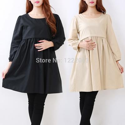 93ec370db2998 Autumn Maternity Wear Dress Nursing Tops Cotton Breastfeeding Dress For  Pregnant Women Maternidade Pregnancy Clothes Gestante