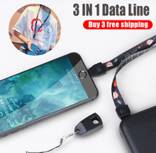 Buy 3 free shipping Mobile phone lanyard data cable Apple / Android / type-c USB fast charging cable