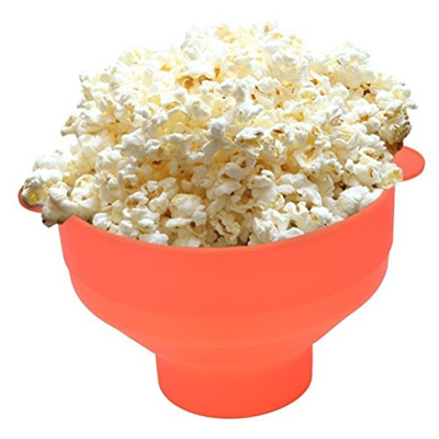 CoscosX Microwave Popcorn Popper, Silicone Popcorn Maker, Collapsible Bowl Red