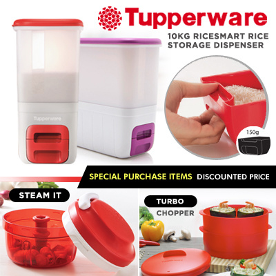 Qoo10 Special ☆Authentic TupperWare☆ 10Kg Ricesmart *Rice Storage Dispenser  * House Warming Gift