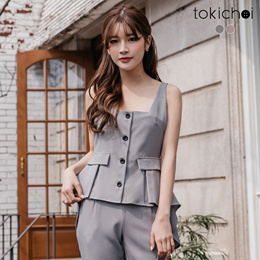 TOKICHOI - Front Short and Long Checkered Vest-190172