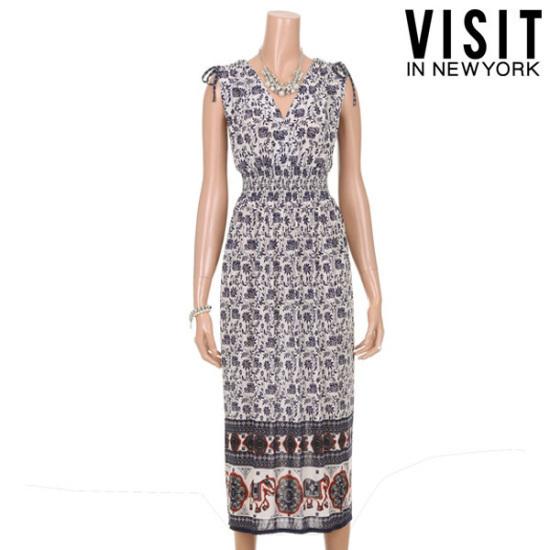 ・ビジット・インニューヨーククールモードリッチ捺染ワンピースVTGOP01 面ワンピース/ 韓国ファッション