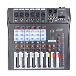 ammoon 60S-USB 6 Channels Mic Audio Mixer Mixing Console 3-band EQ USB XLR Input 48V Phantom Power w