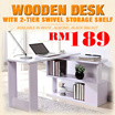 Wooden Desk with 2-Tier Swivel Storage Shelf (Wooden Support)