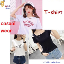 【Wlol】2018New Arrival Korean design Casual Loose fit T-shirts/Basic Design T-shirts/Casual Top