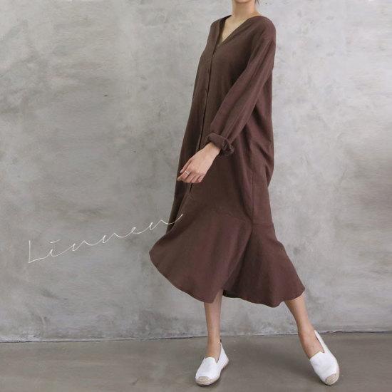オーサムニューズボタンロングフレアワンピース231691G 綿ワンピース/ 韓国ファッション