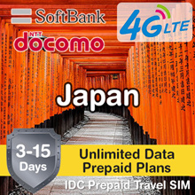 IDC ★ Japan SIM Card 3-15 Days ★ NTT DOCOMO SoftBank ★ Unlimited 4G LTE Data Prepaid Plans