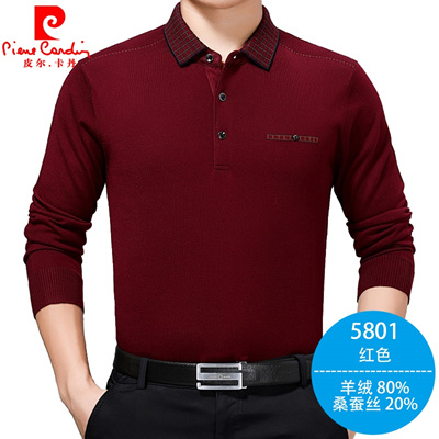 great fit nice shoes save off Pierre Cardin shirt men s t-shirt men s shirt collar cashmere long sleeved  old sweater knit sweater