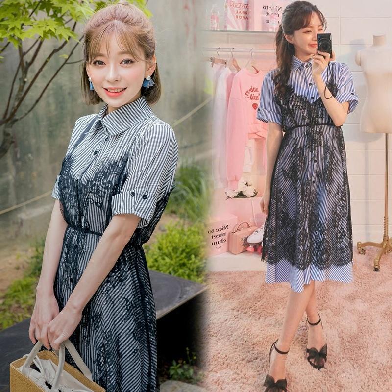 2017年夏新ストライプのシャツは薄いドレスのレースのスカート部分はハーネスを装着しました+/韓国 ファッション ワンピース/Tシャツ/シャツ/韓国ファッション/ワンピース
