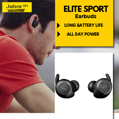 3b7bc7b483c Jabra Elite Sport Earbuds (Black) 3 Year Local Warranty